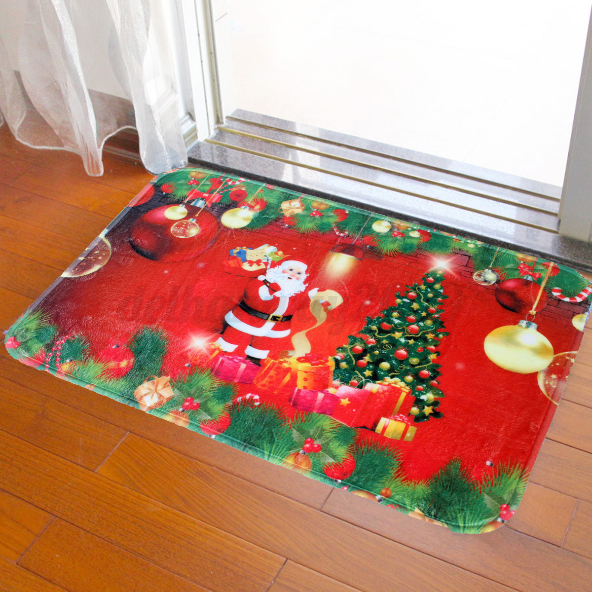 Christmas Tree Santa Claus Floor Mat Non Slip Rug Indoor