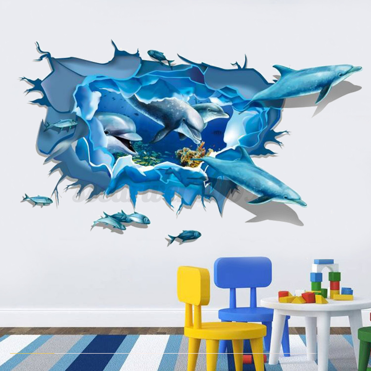 3d removable sea world dolphin turtle wall decal pvc sticker decor kids room new ebay. Black Bedroom Furniture Sets. Home Design Ideas