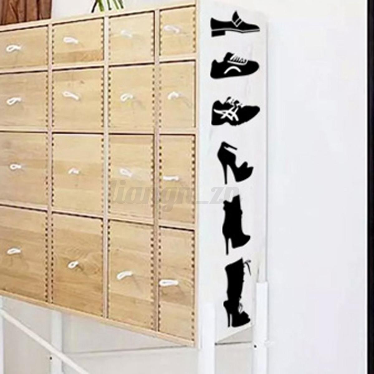 sticker armoire chaussures mural autocollant meuble tiquette label d coration ebay. Black Bedroom Furniture Sets. Home Design Ideas