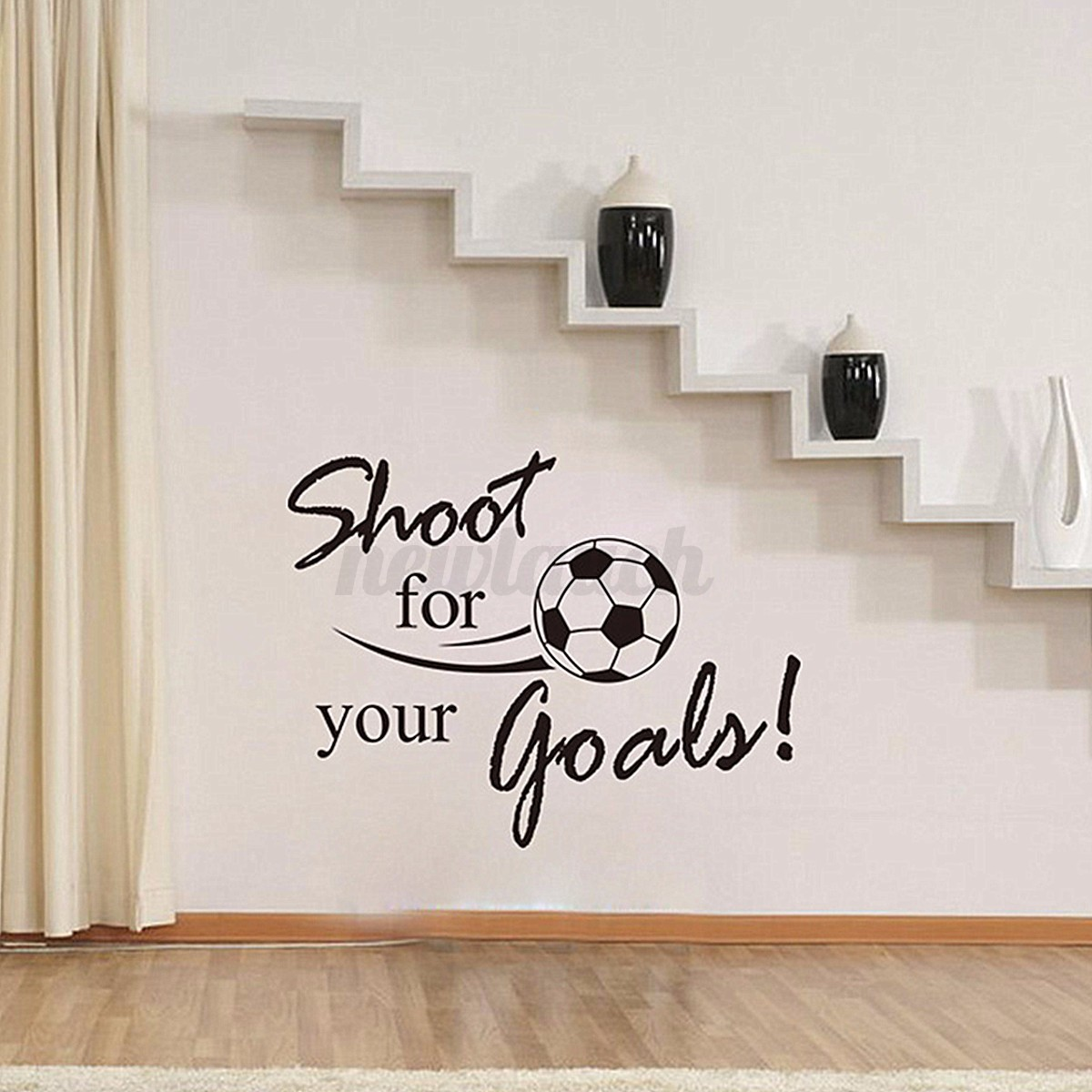 Wall Art Decals For Living Room: Removable Football Soccer Ball Letter Wall Stickers Art