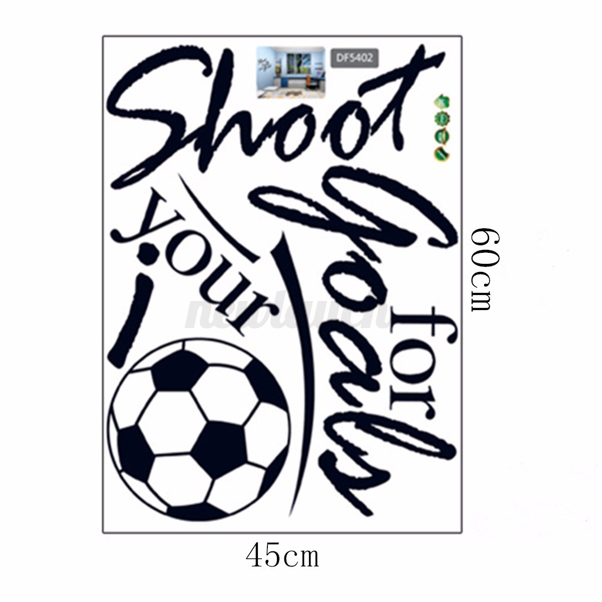 Removable Football Soccer Ball Letter Wall Stickers Art ...