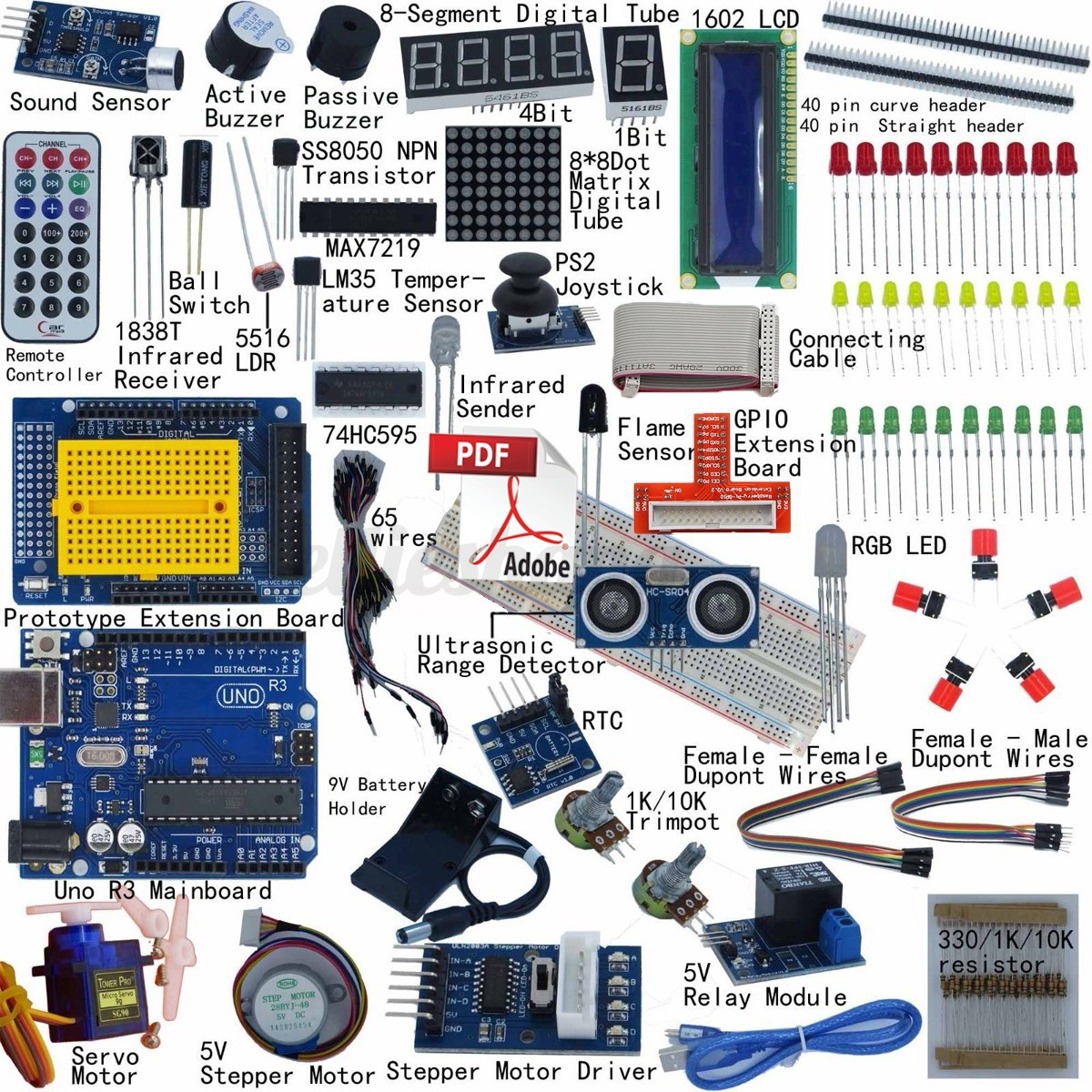 Ultimate starter learning kit for arduino uno r lcd
