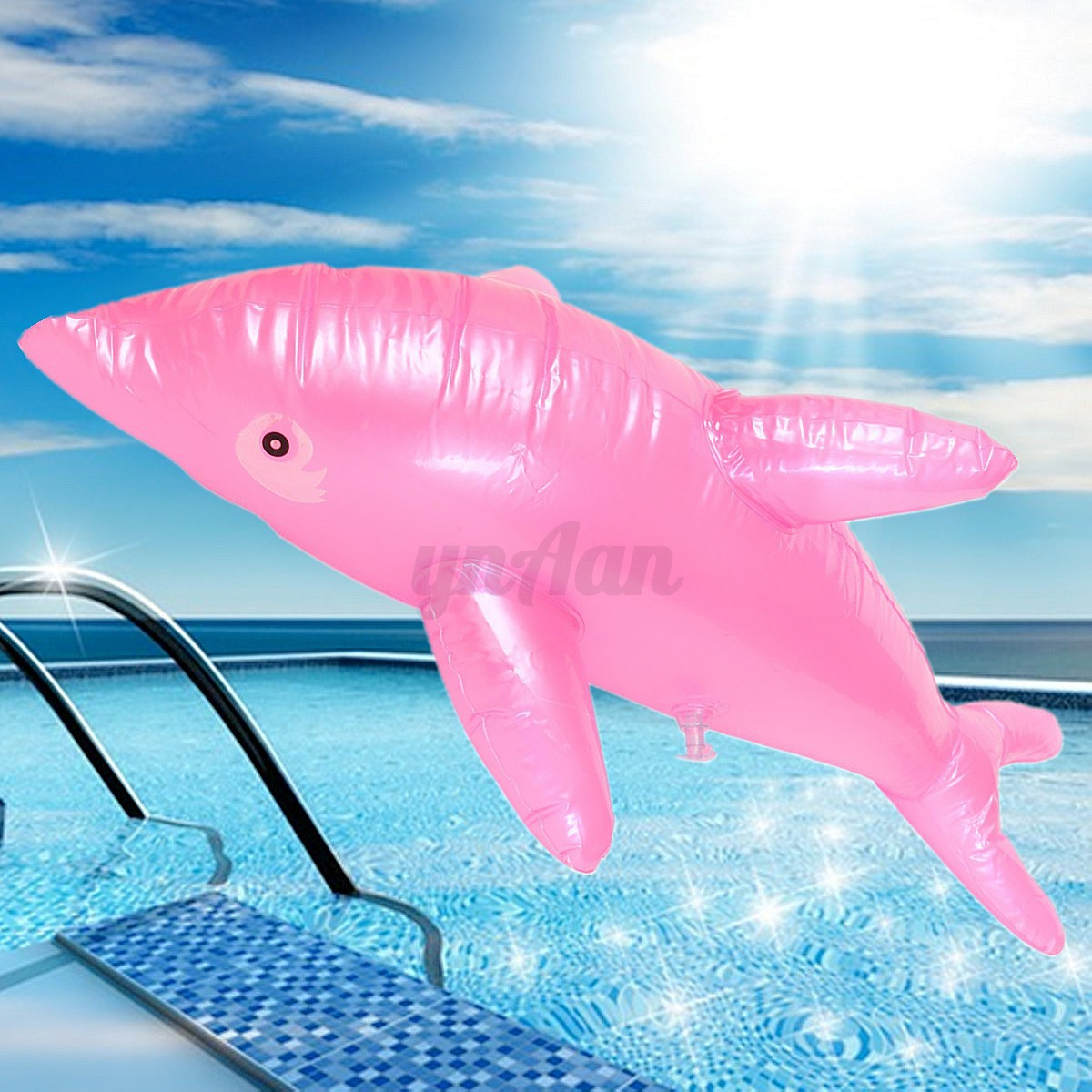 Inflatable dolphin fish swimming pool beach party kids toy for Fake fish that swim