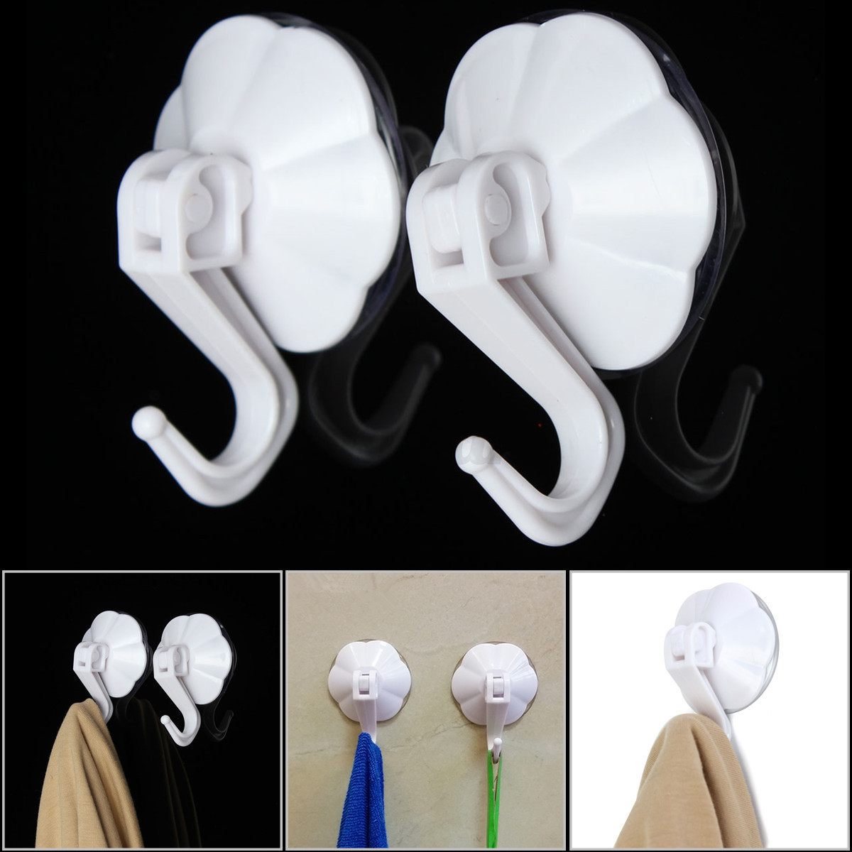 strong suction cup hooks Each mounts easily and securely to a mirror or tiled surface with extra-strong suction cups the hooks, available in two sizes, are ideal for a washcloth, towel or.