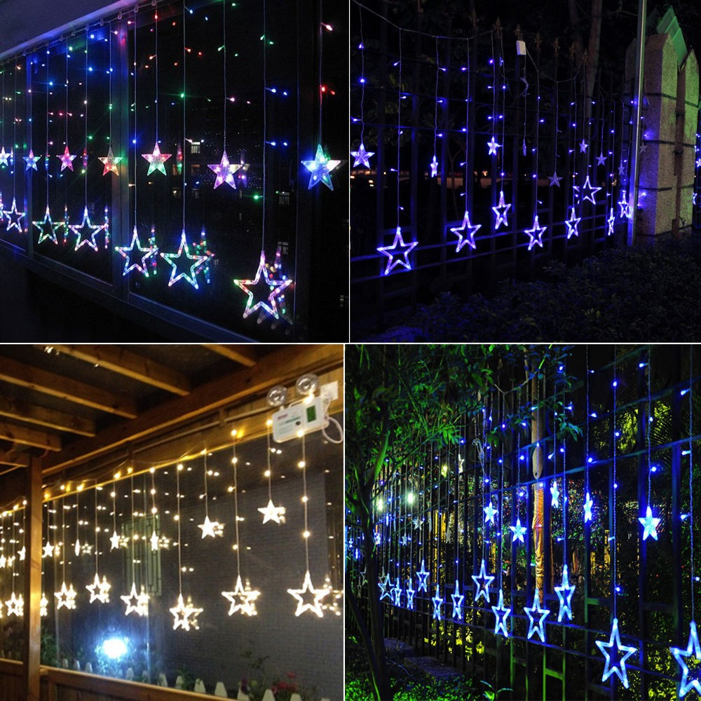Led Christmas Wall Lights : 138 LED Christmas Wedding Xmas Party Decor String Fairy Window Wall Star Light eBay