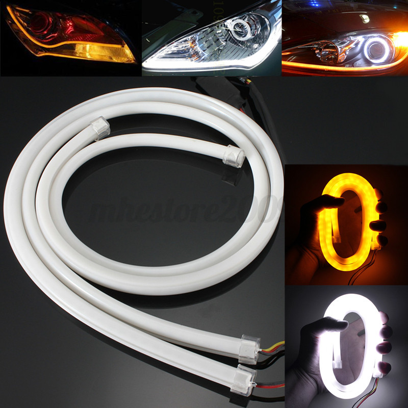 2x 85cm flexible car soft tube led strip light drl daytime running image is loading 2x 85cm flexible car soft tube led strip aloadofball Images