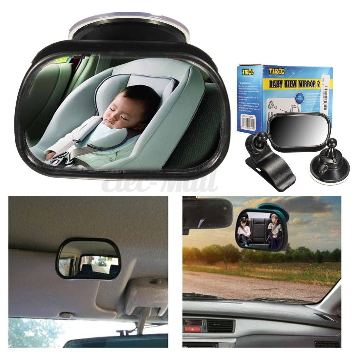 universal car interior rear view mirror suction adjustable blind spot windscreen. Black Bedroom Furniture Sets. Home Design Ideas