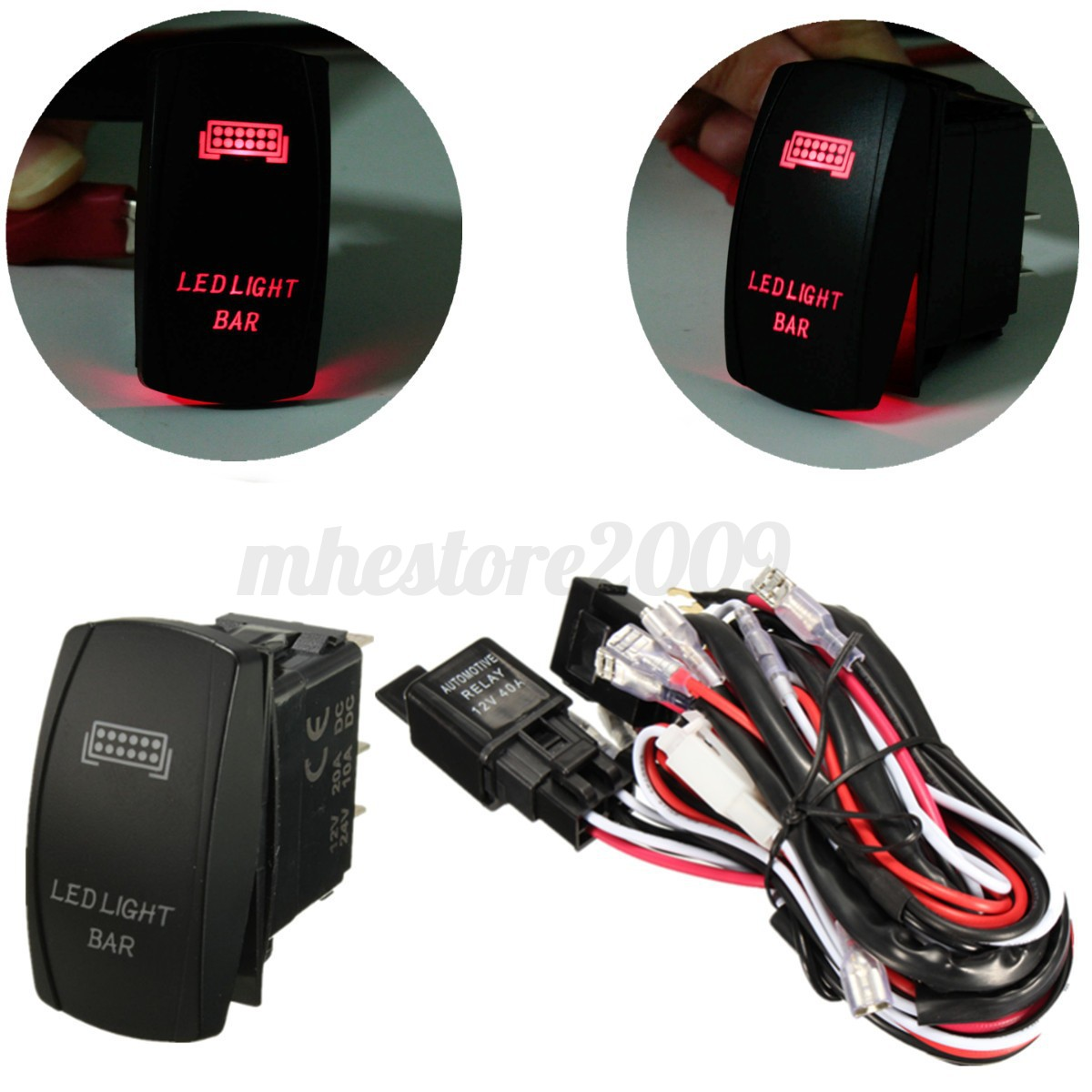 red led light bar laser rocker on off switch amp relay fuse image is loading red led light bar laser rocker on off