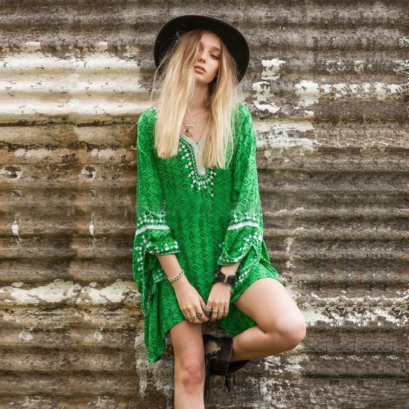 Summer Women Ethnic Embroidered Hippie Long Tops Blouse Gypsy Boho Mini Dress