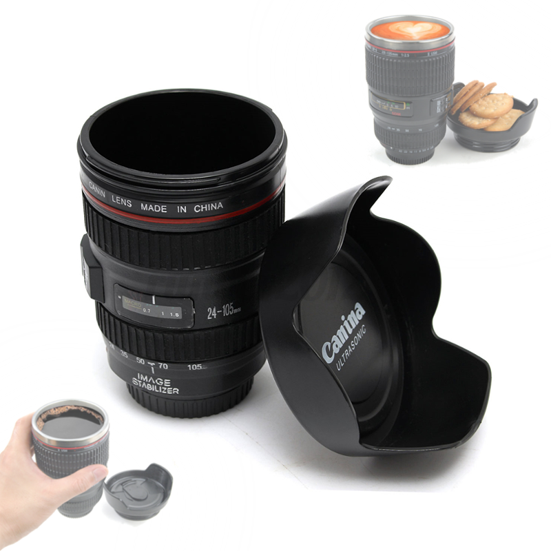 Camera lens tea coffee cup hot drinks mug thermos for Photo lens coffee cup
