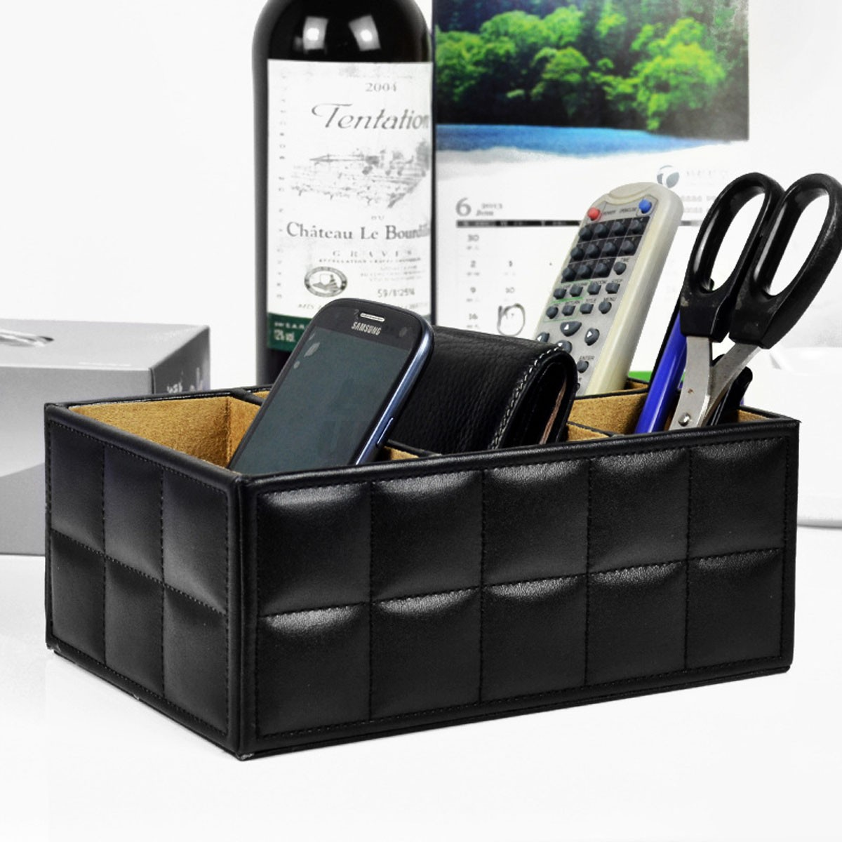 bo te de rangement en pu cuir maquillage bureau organisateur pot crayon phone ebay. Black Bedroom Furniture Sets. Home Design Ideas