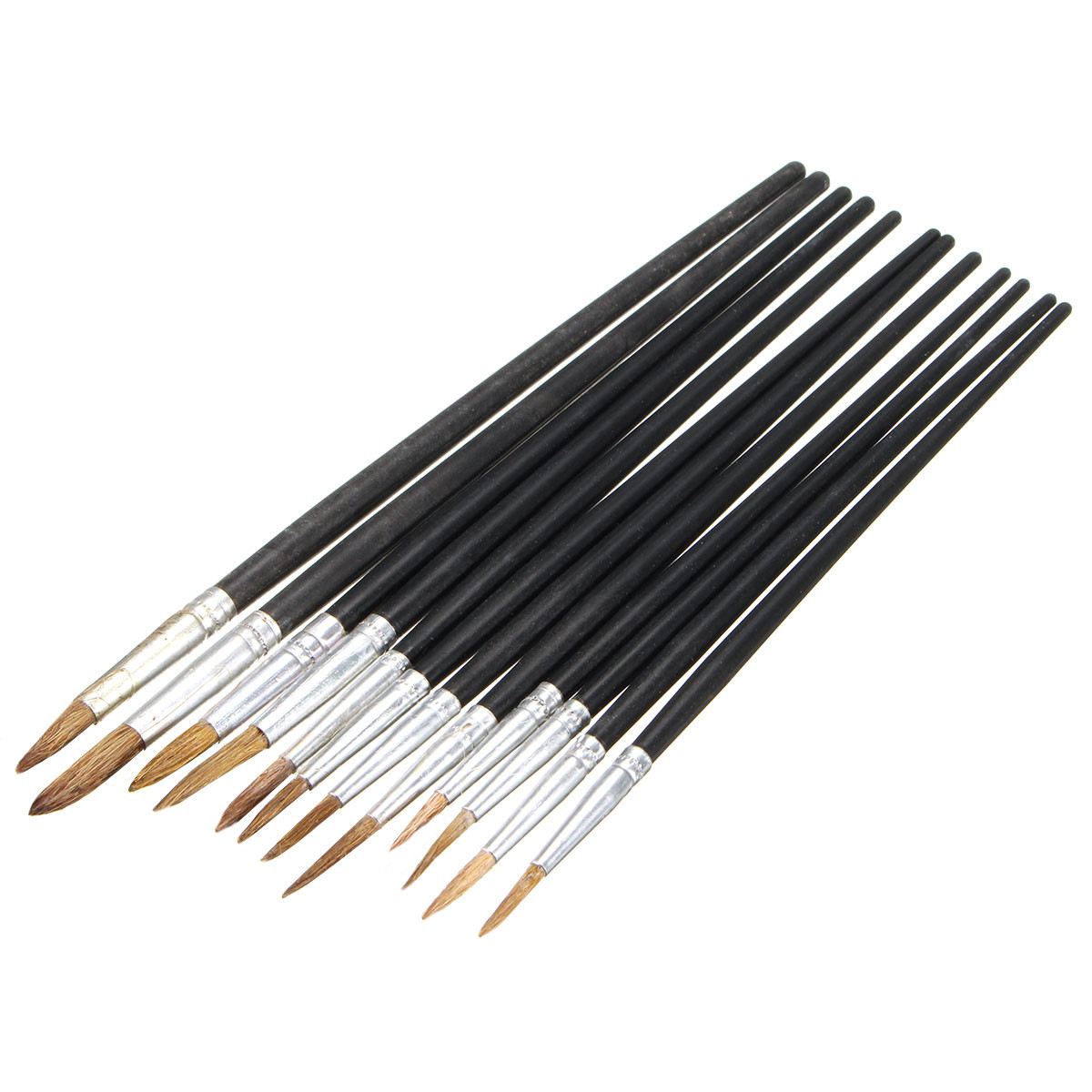 12 Black Pointed Artist Brush Set Small Large Art Paint