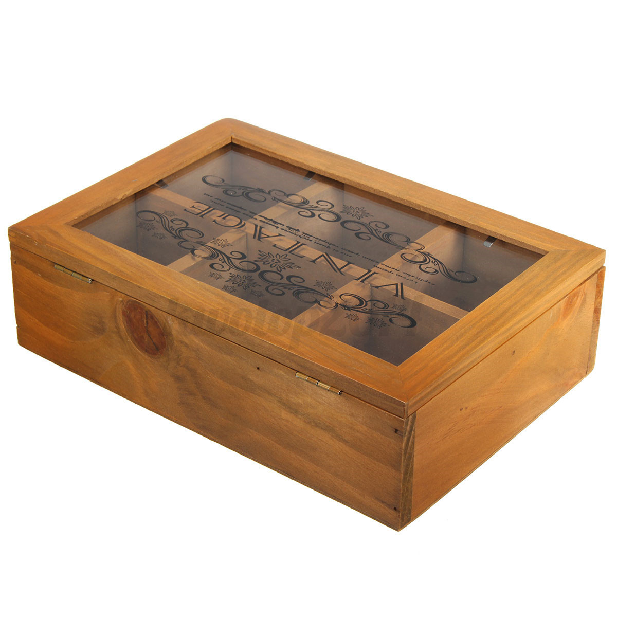 vintage zakka wooden storage box organizer container glass lid 6 lattices new ebay. Black Bedroom Furniture Sets. Home Design Ideas
