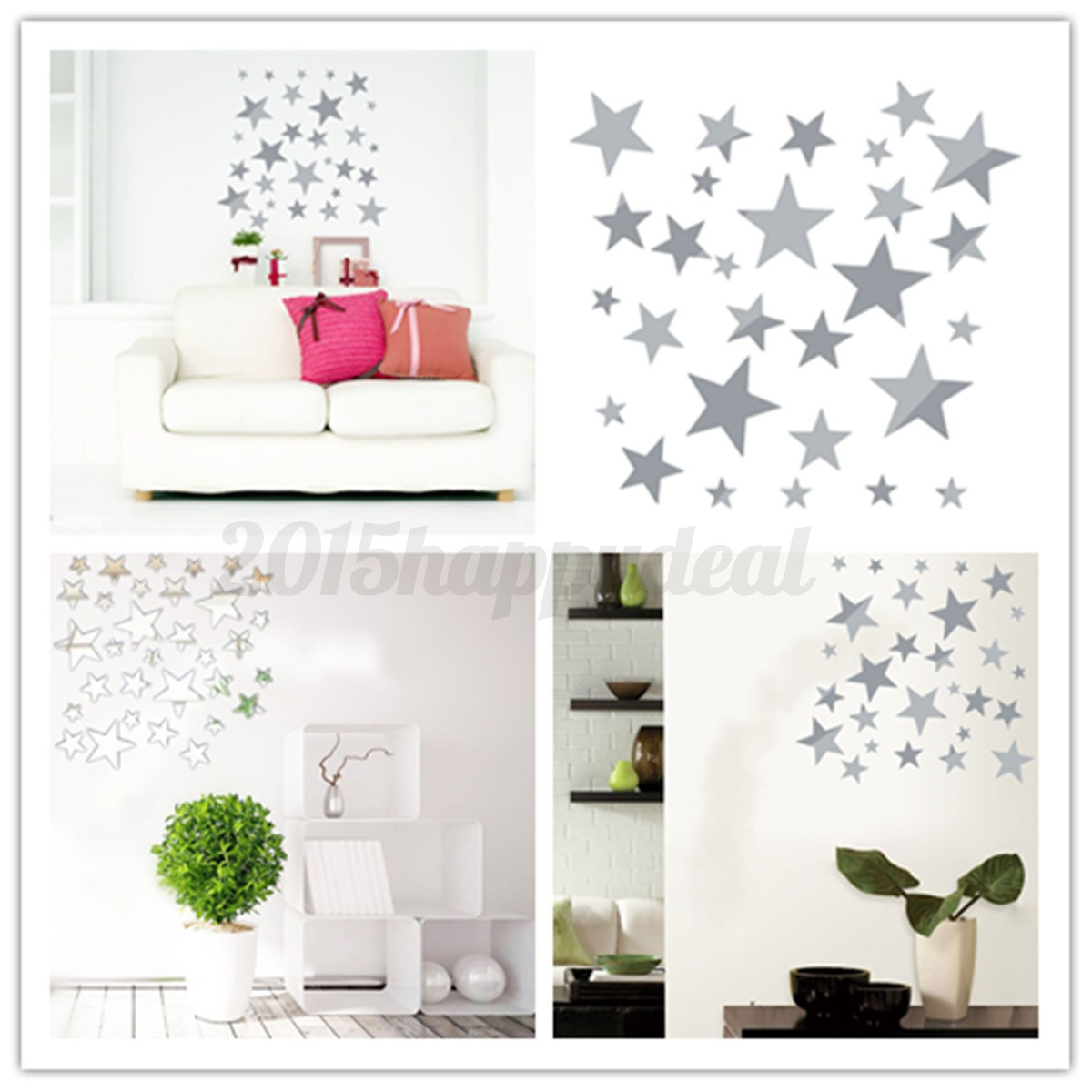 Fashion star mirror diy wall ceiling home decal mural for Diy wall photo mural