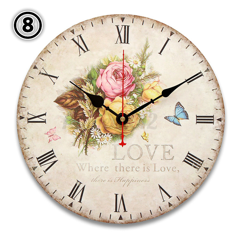30cm Retro Vintage Flower Large Wooden Digital Wall Clock