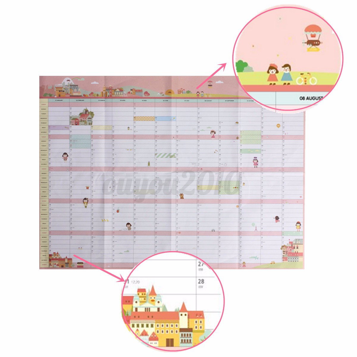 2016 Year Wall Hanging Calendar Planner Daily Monthly