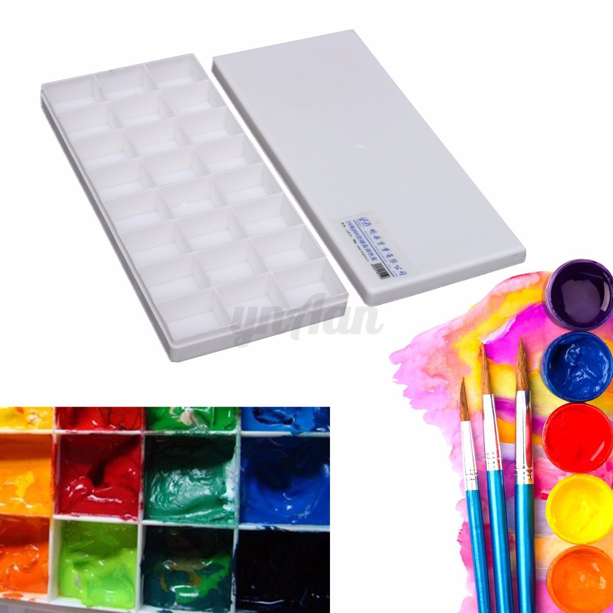 artist plastic 24 well watercolor paint painting tray art drawing mixing palette ebay. Black Bedroom Furniture Sets. Home Design Ideas