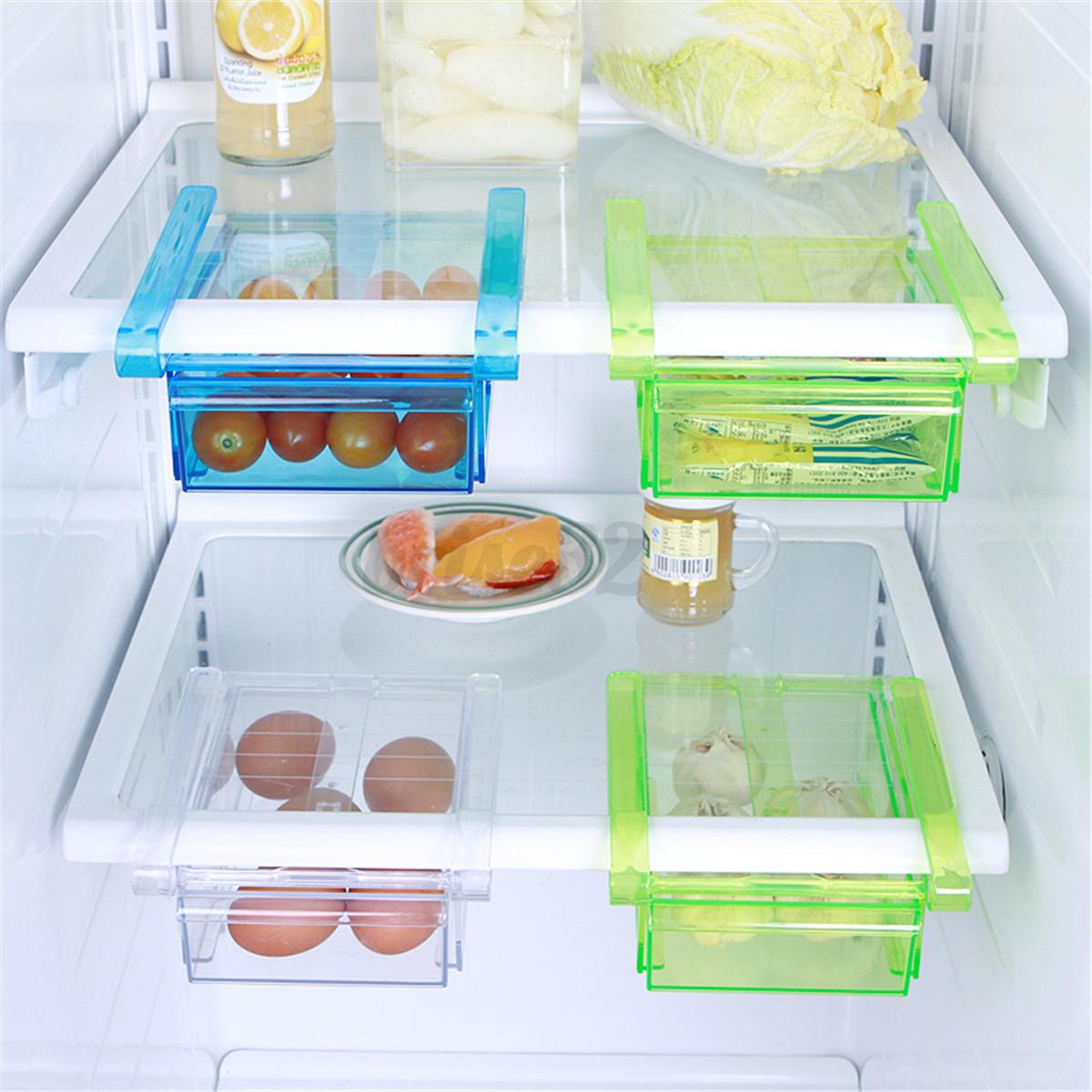 Kitchen Shelf Organiser: Plastic Kitchen Freezer Fridge Drawer Storage Rack Holder