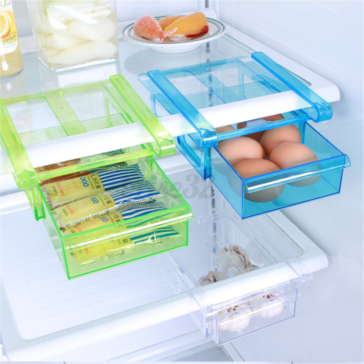 Kitchen Shelf Holders: Plastic Kitchen Freezer Fridge Drawer Storage Rack Holder