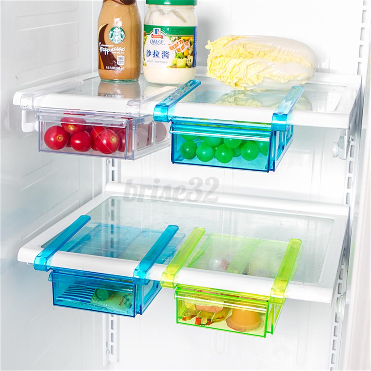 Plastic Kitchen Freezer Fridge Drawer Storage Rack Holder