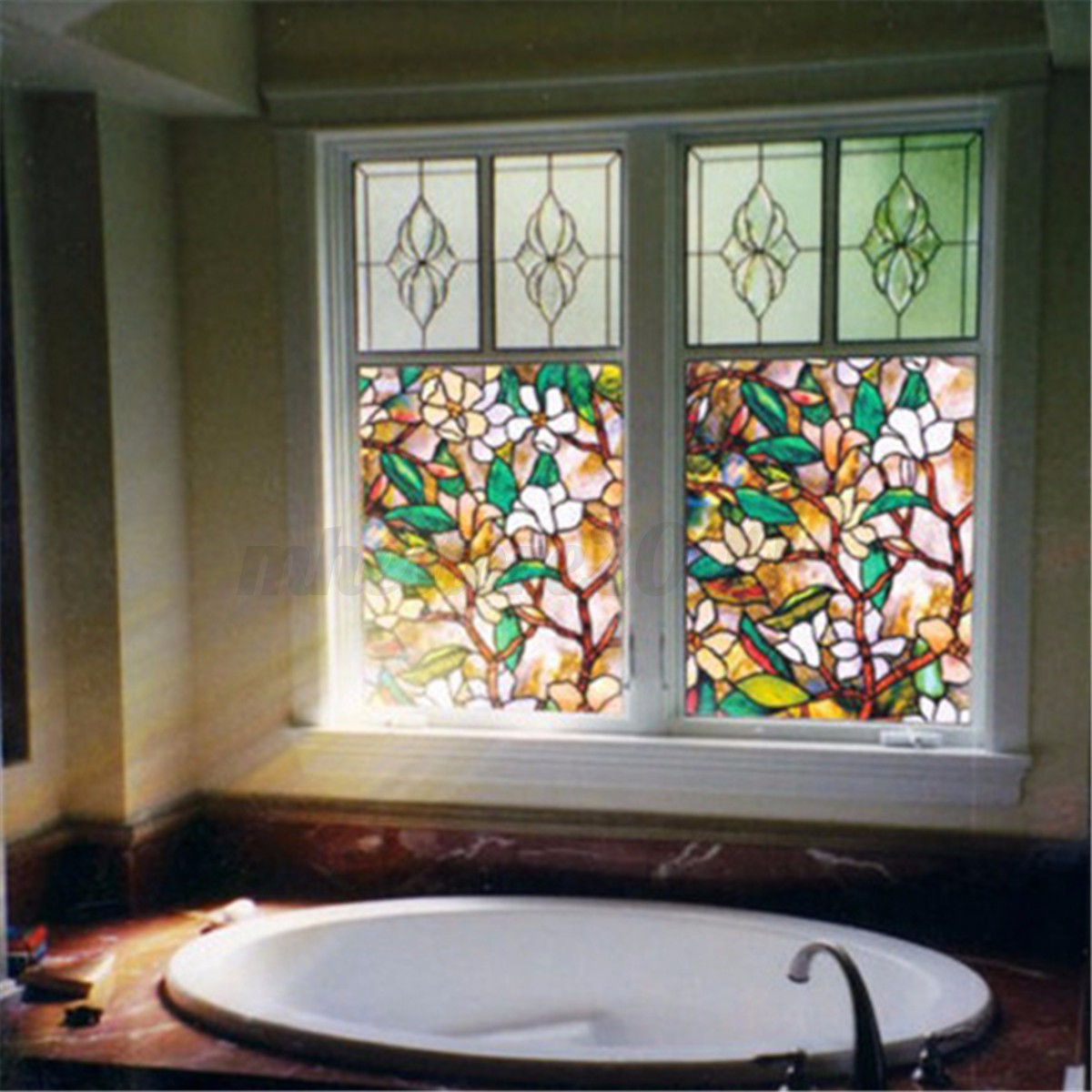 Magnolia Flowers Static Cling Stained Glass Window Film ...
