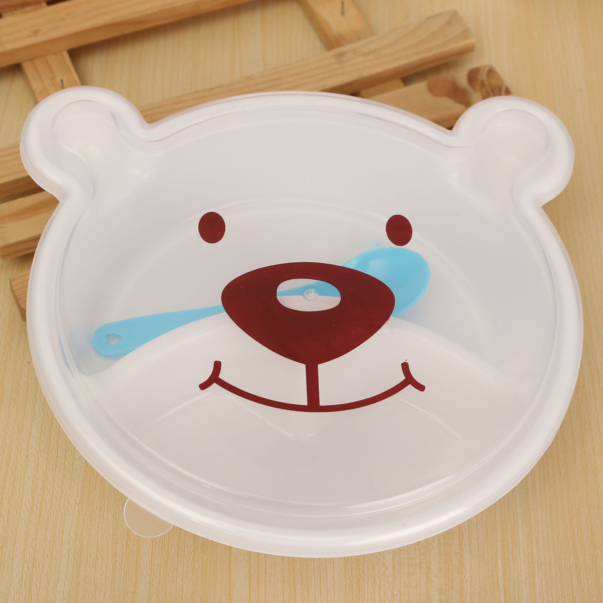 Portable Bento Lunch Box Plastic Cute Cartoon Bear Food Fruit Storage with Spoon