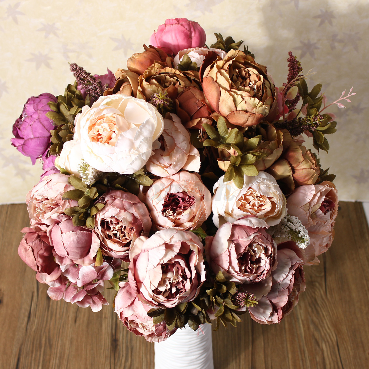 1 bouquet light pink vintage artificial peony silk flower for Artificial flower for wedding decoration