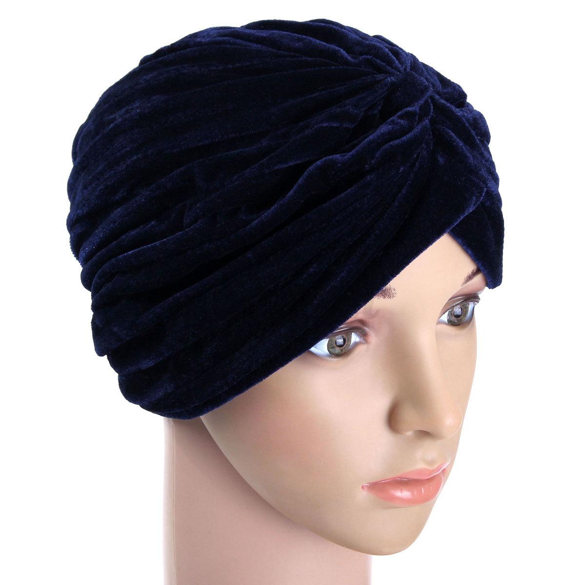 femme bonnet chapeau turban velours indien foulard hijab chaud souple hiver ebay. Black Bedroom Furniture Sets. Home Design Ideas