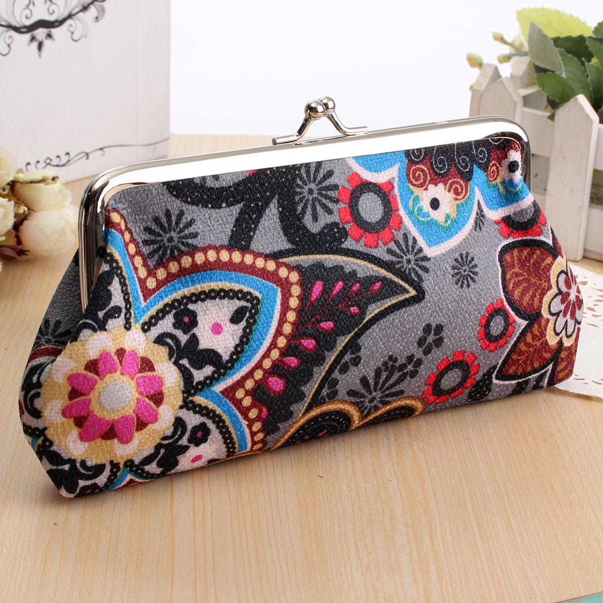 Fashion Women Cute Mini Flower Coin Wallet Floral Purse Card Holder Bag Handbag