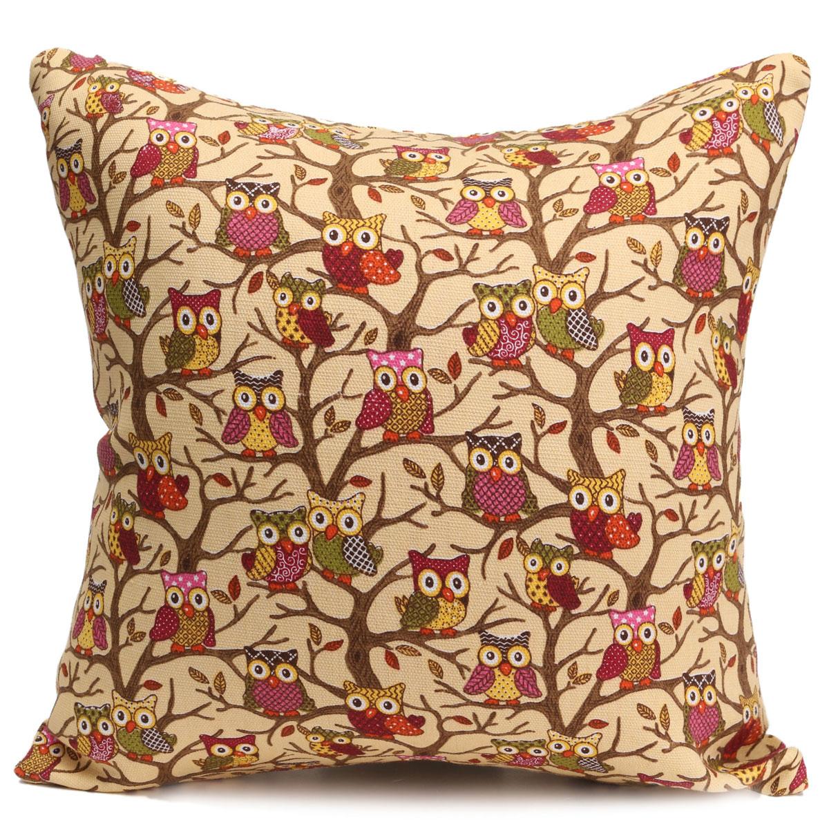 Hibou animaux housse de coussin taie d 39 oreiller canap lit for Taie d oreiller pour canape
