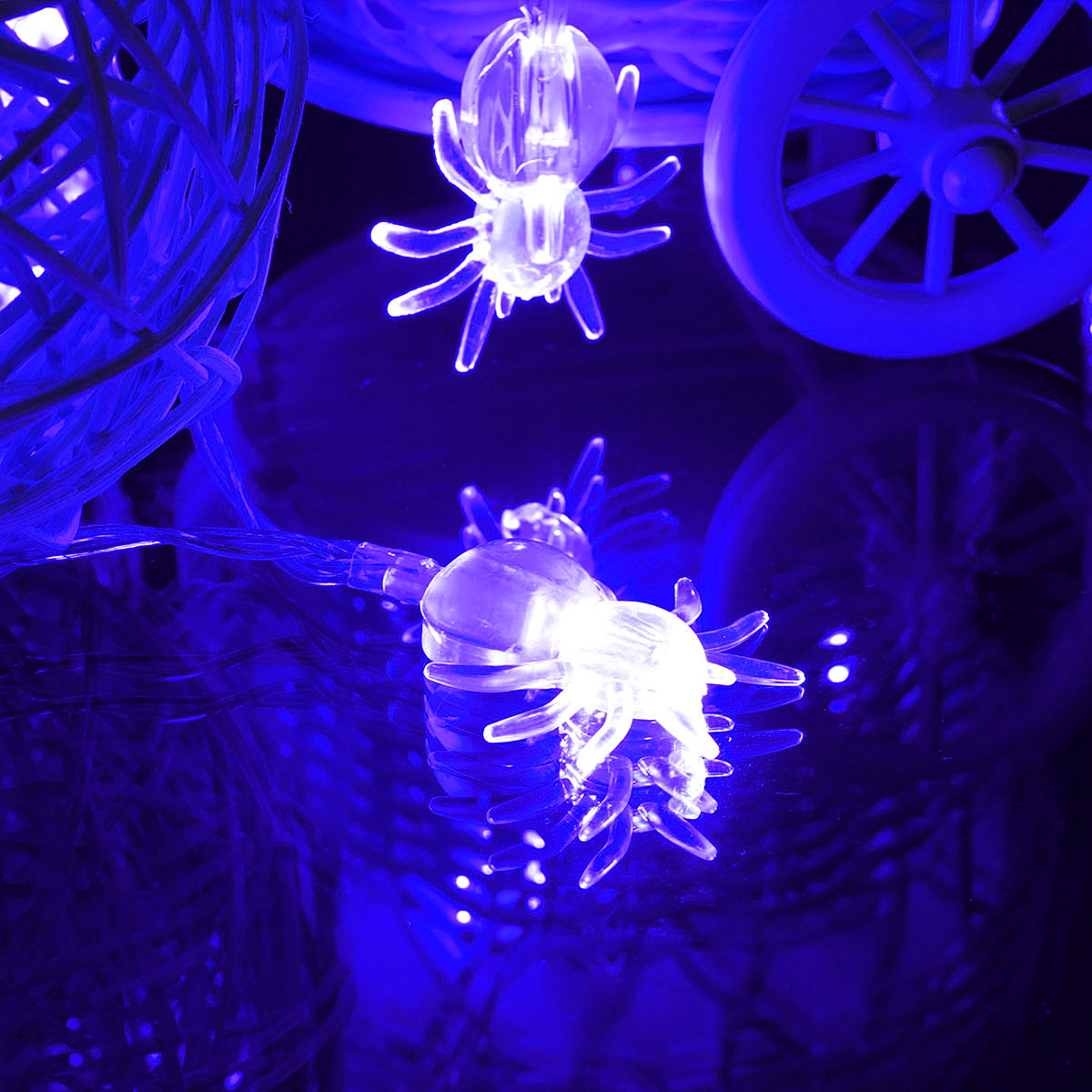 Purple-Blue-20-LED-Spider-Fairy-Lights-Halloween-Party-Spooky-Battery-Operated