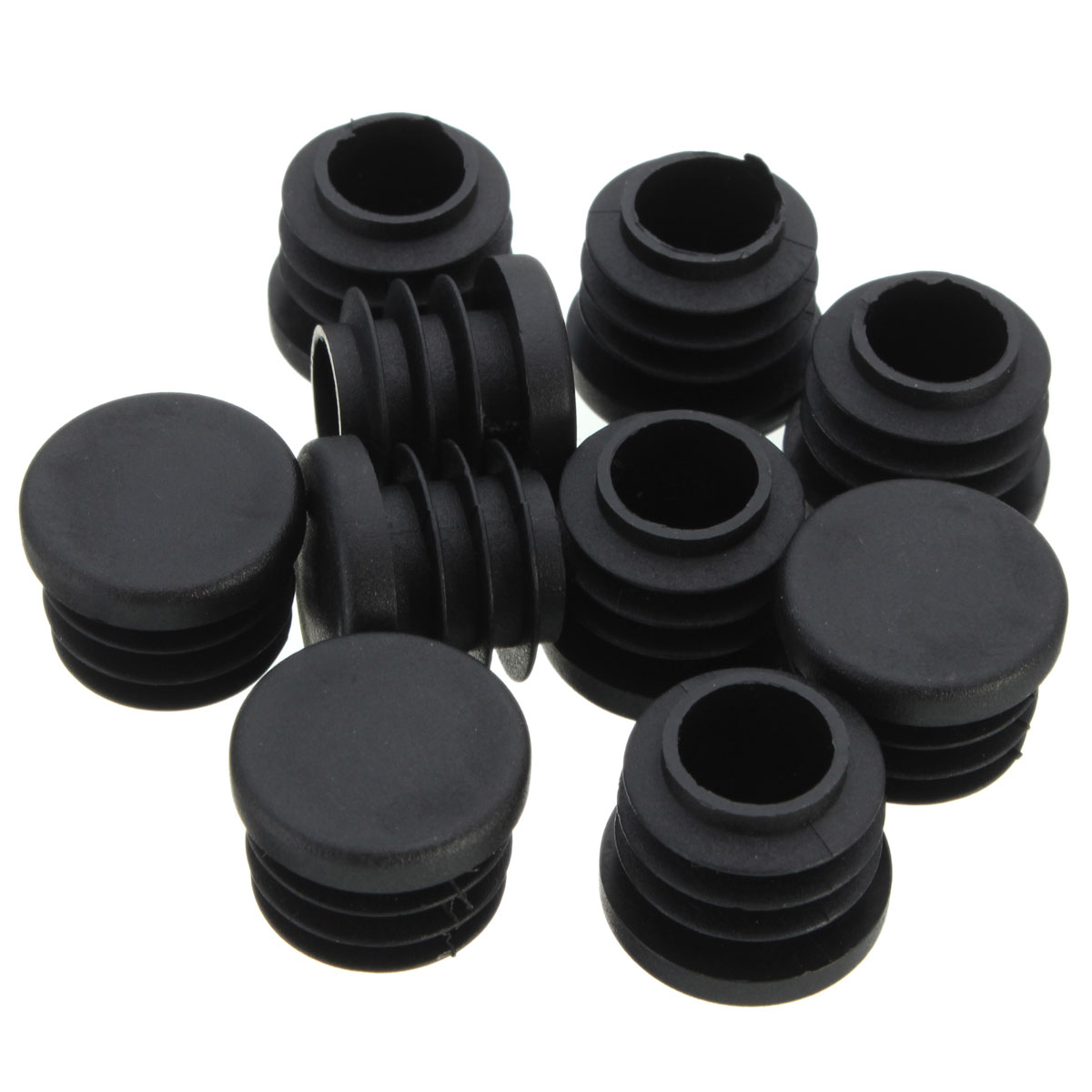 Black plastic blanking end caps cover insert plugs