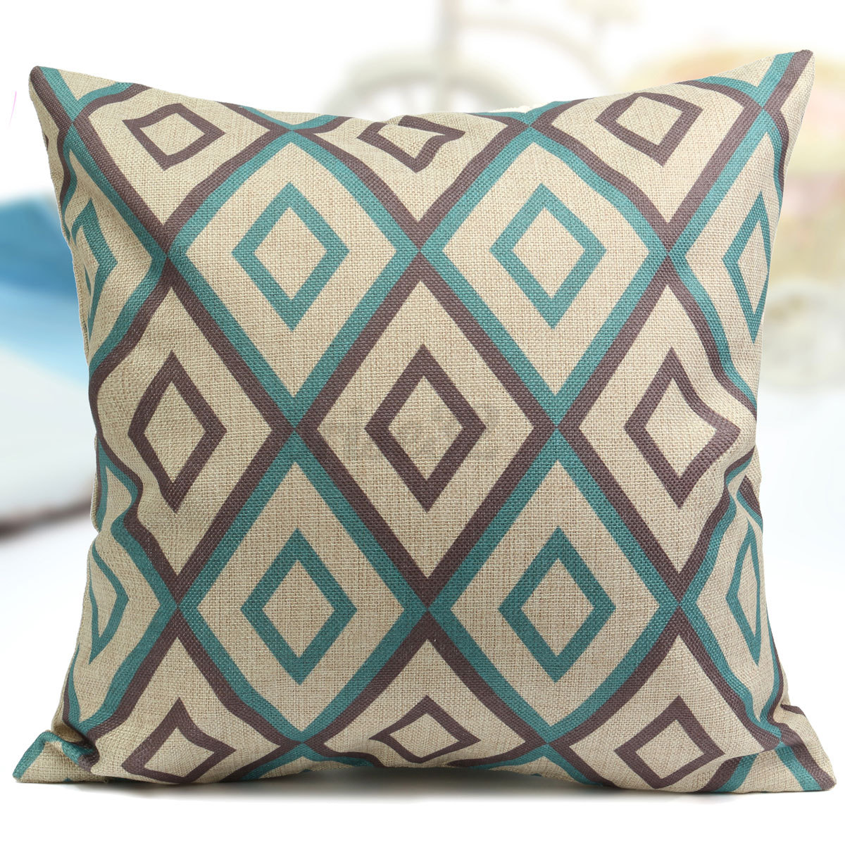 geometry aqua mint green home decor cotton linen cushion geometry aqua mint green home decor cotton linen cushion