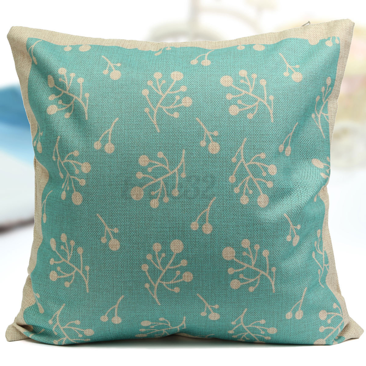 geometry aqua mint green home decor cotton linen cushion 40 beautiful pieces of mint green home decor