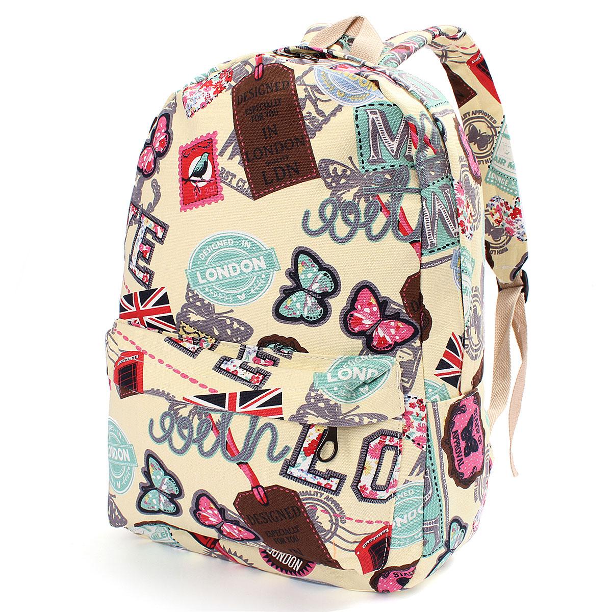 Women Girl Canvas Backpack Rucksack Travel Satchel Shoulder School Bag Bookbag