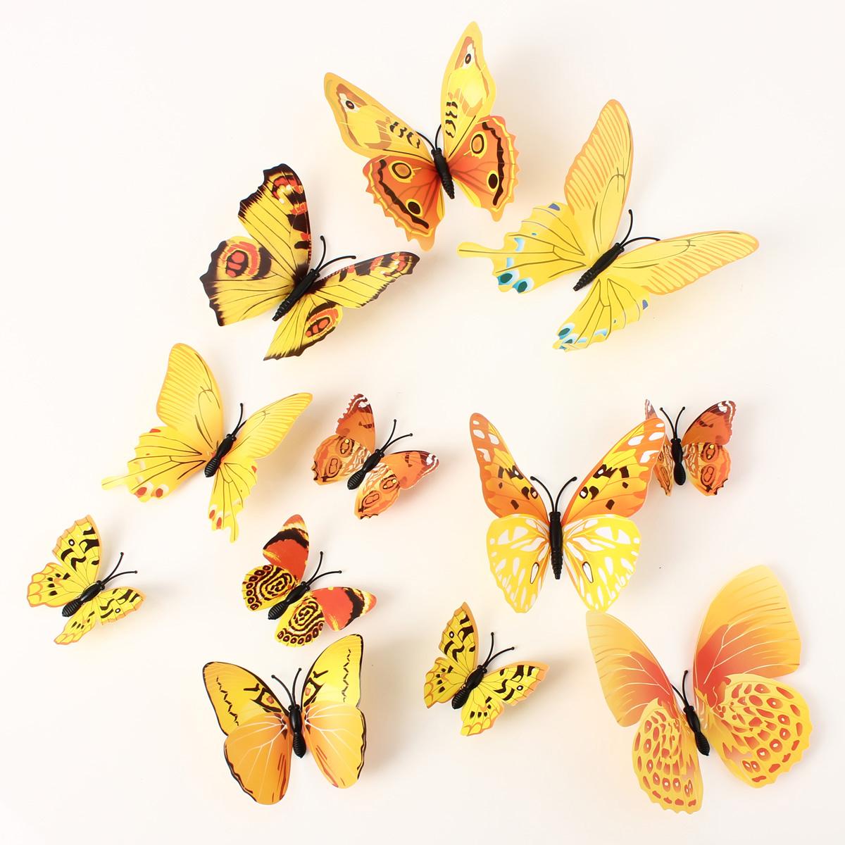 12pcs papillon sticker 3d d coration mariage mural salon chambre diy pingle ebay - Decoration papillon chambre ...