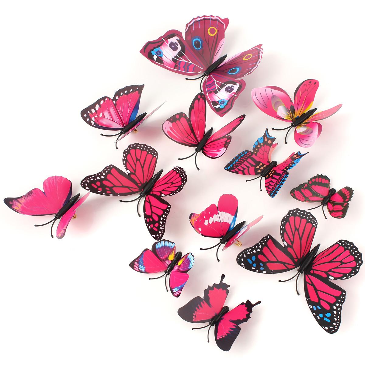 12pcs papillon sticker 3d d coration mariage mural salon chambre diy pingle ebay. Black Bedroom Furniture Sets. Home Design Ideas