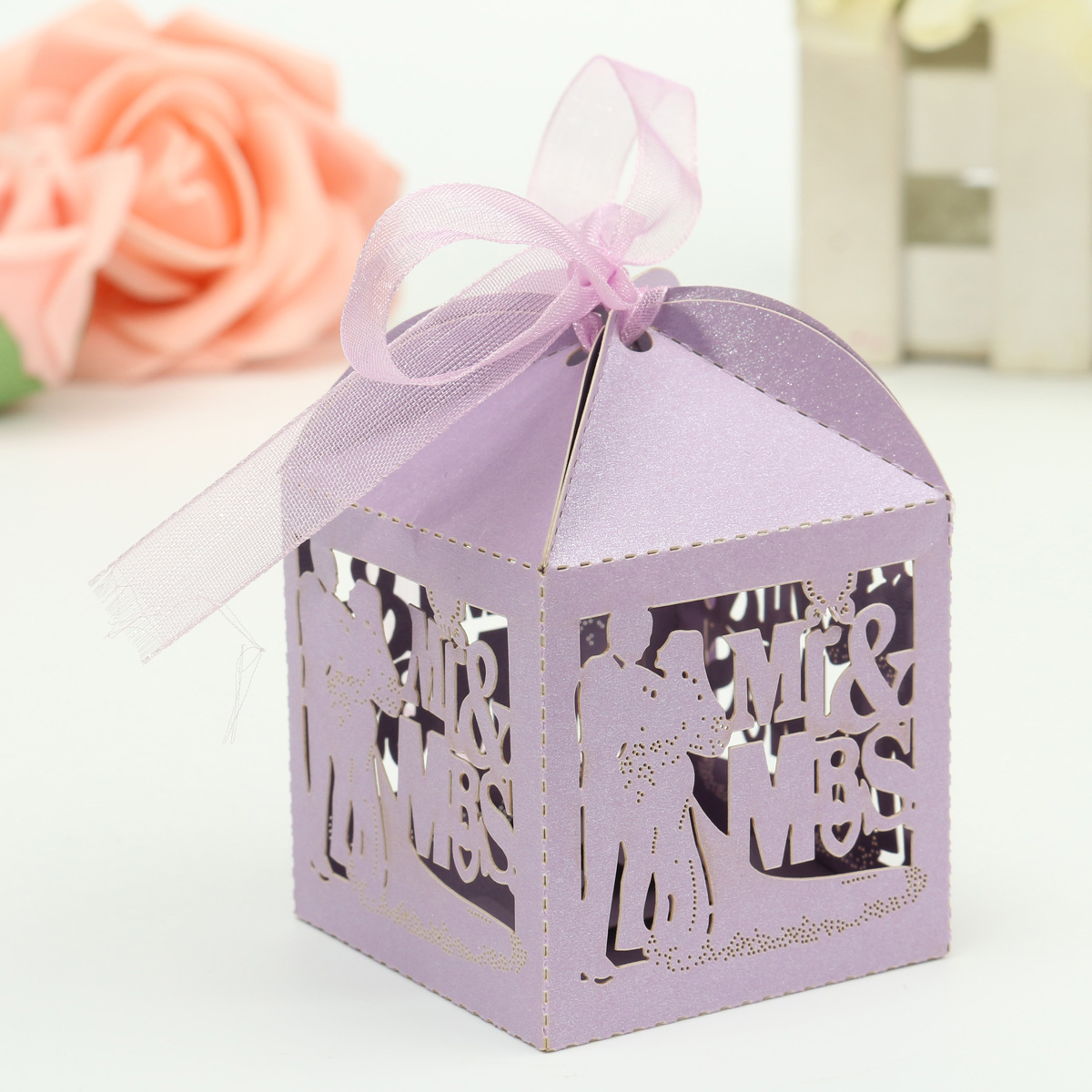 12pcs Mr & Mrs Laser Cut Party Wedding Favor Candy Gift Boxes LED Light Ribbon