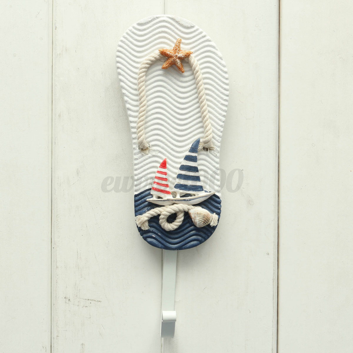 Nautical wall hanging decor : Wooden nautical decor wall hanging hook decarative coat