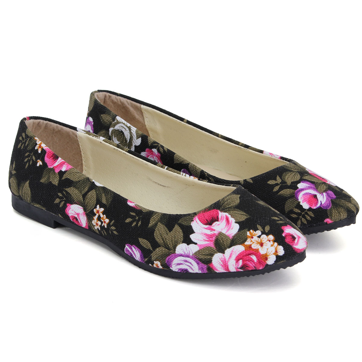 womens flower floral flat casual shoes ballerina