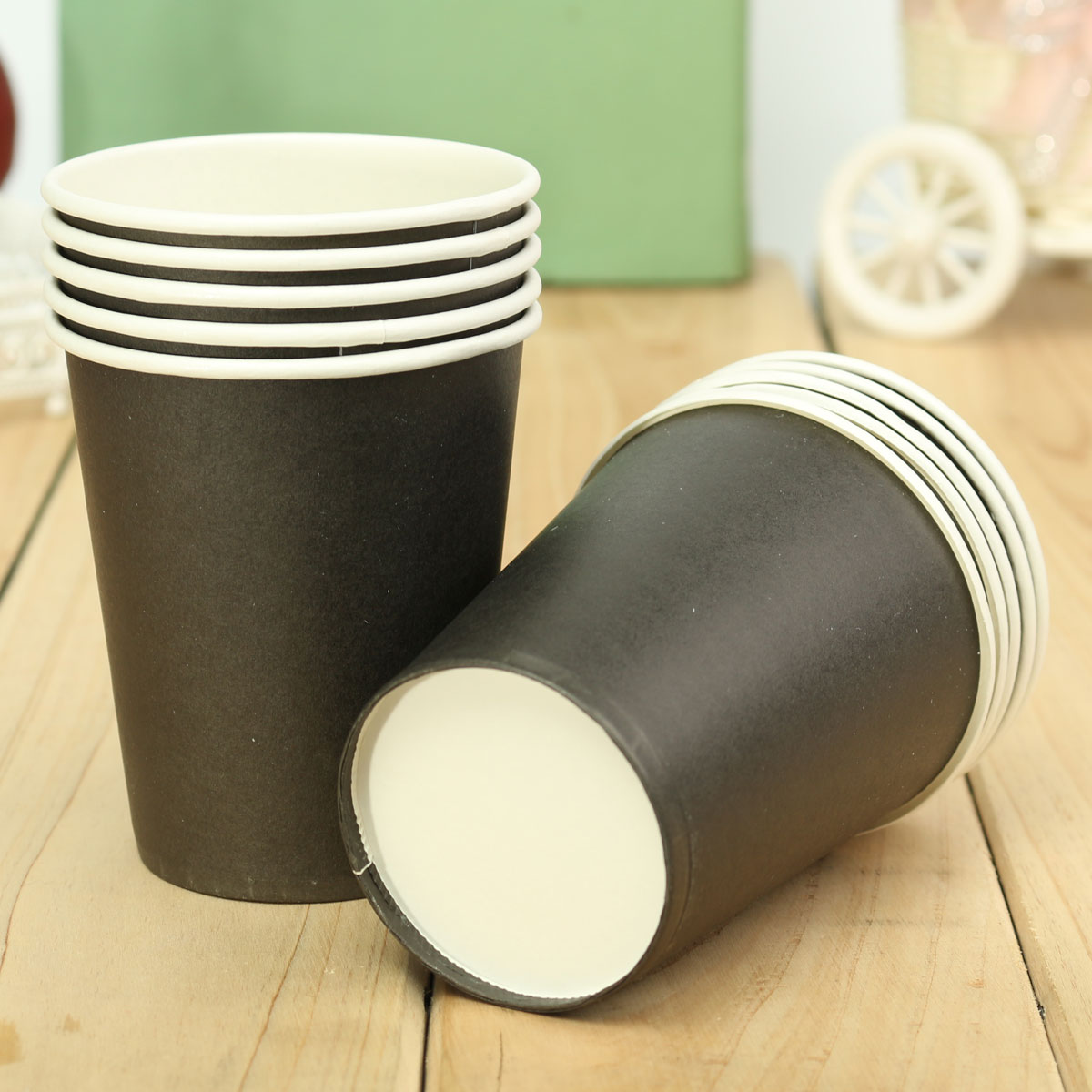 10Pcs Plain Solid Colors Disposable Paper Cups Party Birthday Event Tableware