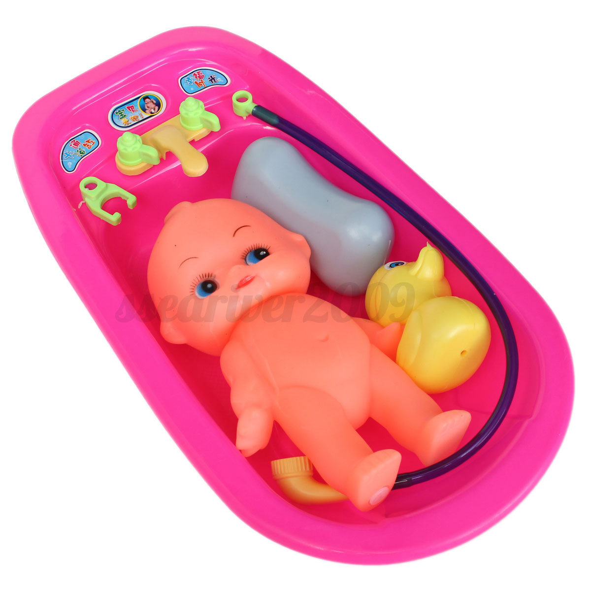 baby doll in bath tub with shower accessories set kids pretend role play toy new ebay. Black Bedroom Furniture Sets. Home Design Ideas