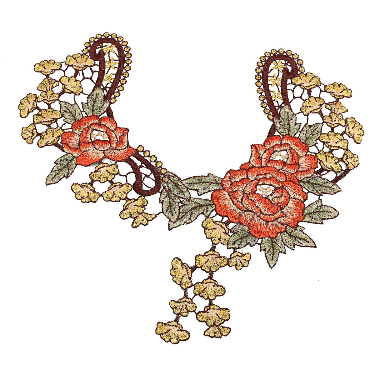Unique d flower floral collar lace trim embroidered neck