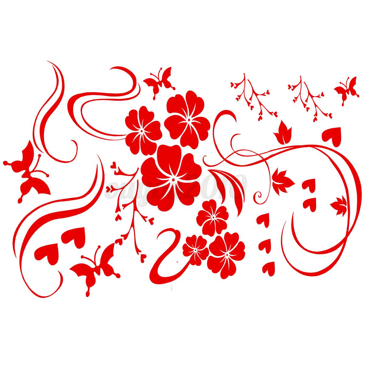 Accueil fleur papillon r frig rateur art sticker mural - Stickers cuisine rouge ...