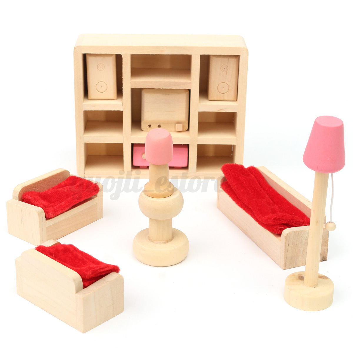 Wooden Furniture 6 Room Set Dolls House Family Miniature For Kids Children Toy Ebay