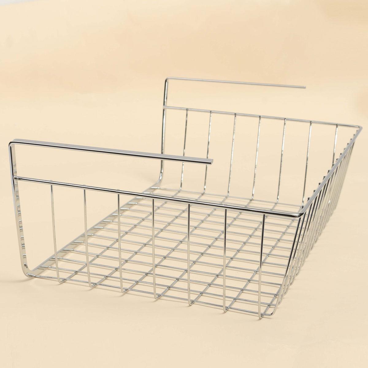 kitchen cabinet under shelf basket storage white wire rack. Black Bedroom Furniture Sets. Home Design Ideas