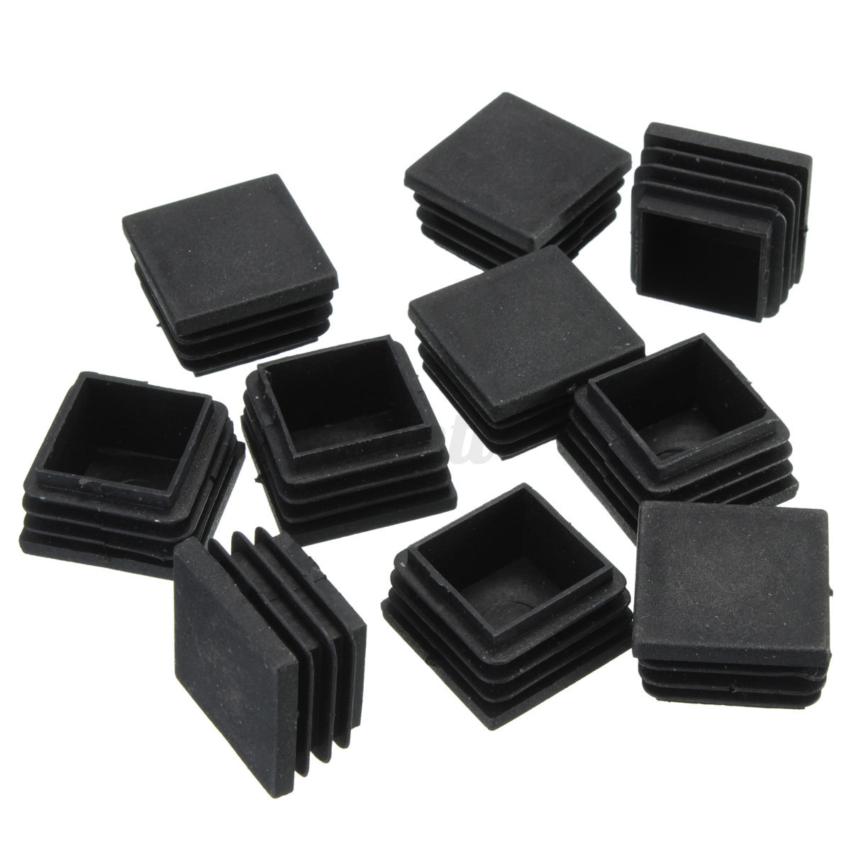 Plastic blanking end caps square inserts black for