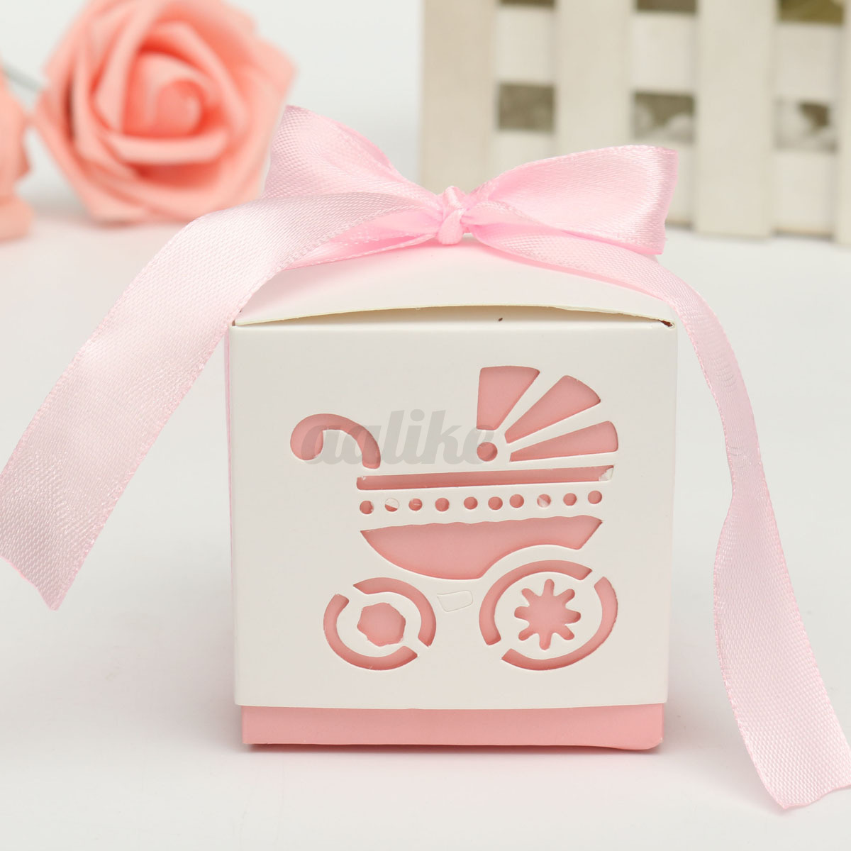 Baby shower favor boxes australia : Laser cut carriage gift candy bomboniere boxes wedding