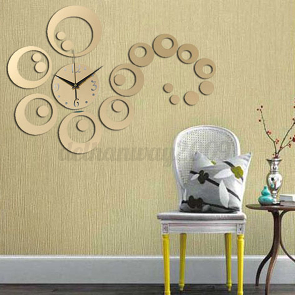 diy 3d horloge murale moderne design miroir decor maison salon chambre bureau ebay. Black Bedroom Furniture Sets. Home Design Ideas