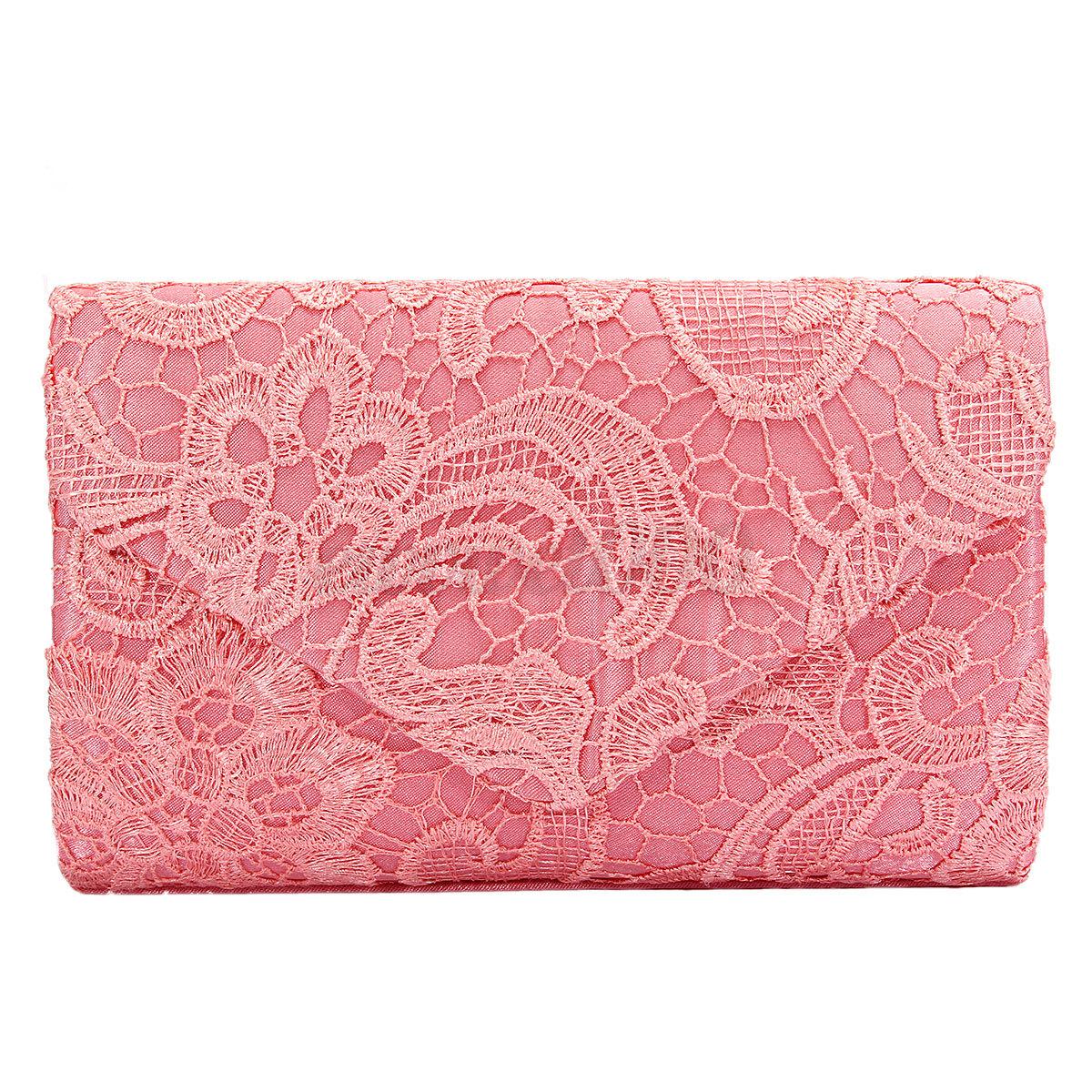 Womens Lady Lace Wedding Party Bridal Messenger Evening Bag Clutch Handbag Purse
